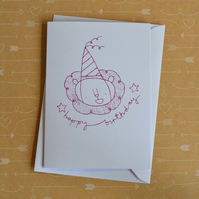 Party Hat Lion - Screen-printed Birthday Card