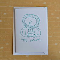 Lion & Cake - Screen-printed Birthday Card