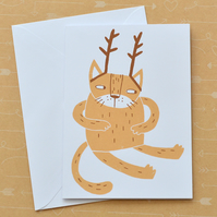 SALE Santa's Cat - Hand Screen Printed Card