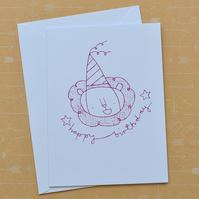Party Hat Lion - Hand Screen Printed Happy Birthday Card