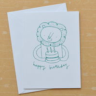 Lion & Cake - Hand Screen Printed Happy Birthday Card
