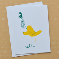 Bird & Feather - Hand Screen Printed Card