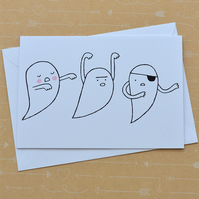 Three Ghosts - Hand Screen Printed Card