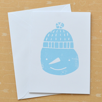 SALE Snowman Christmas Screen Printed Card