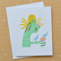 Birds with Plant Sculpture - Hand Screen Printed Card