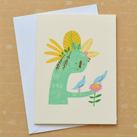 Birds with Plant Sculpture - Hand Screen Printed Cream Card