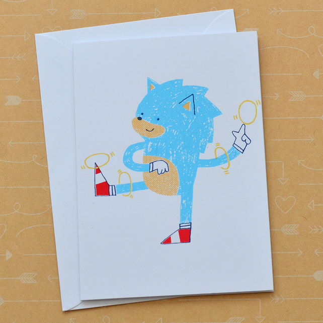 Sonic the Hedgehog - Hand Screen Printed Card