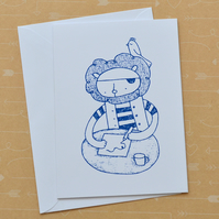 Pirate Lion - Screen Printed Card