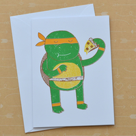 Michelangelo Teenage Ninja Mutant Turtles - Hand Screen Printed Card