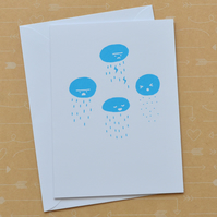 SALE Rainclouds - Hand Screen Printed Card