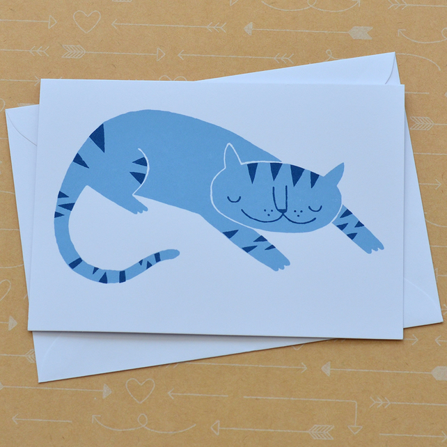 Sleeping Cat Hand Screen Printed Card