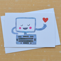 SALE Computer Love - Illustrated Card