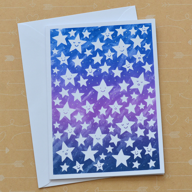 Stars - Hand Screenprinted Card - Well Done Congratulations