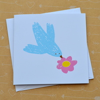 Bird and Flower - Small Hand Screen Printed Card