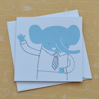 Elephant - Tiny Hand Screen Printed Card