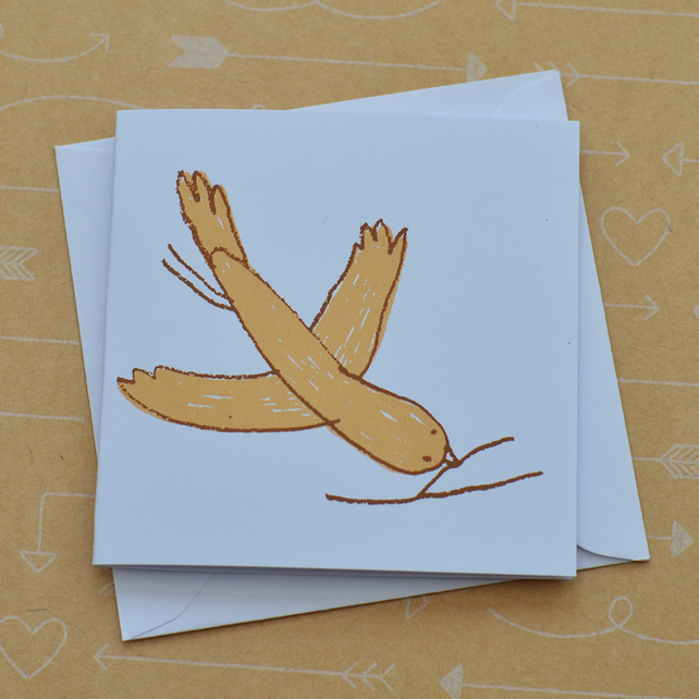 Bird and Twig- Tiny Hand Screen Printed Card