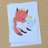 Reading Fox - Hand Screen Printed Card
