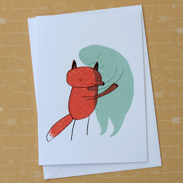 Fox and Sadness - Hand Screen Printed Card