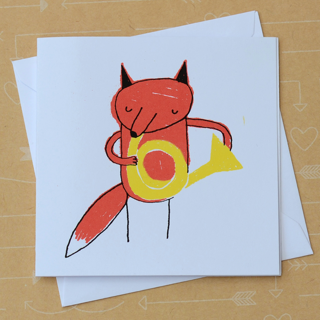 Fox and French Horn - Small Hand Screen Printed Card