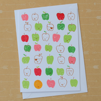 Teacher's Apples - Hand Screen Printed Card