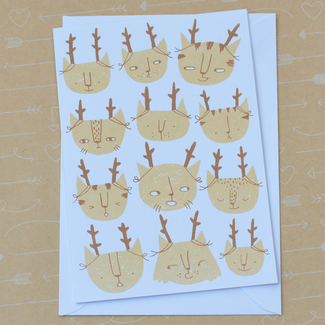 Santa's Cats Catmas Cat Christmas Hand Screenprinted Card