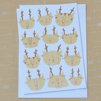 SALE Santa's Cats Catmas Cat Christmas Hand Screen Printed Card