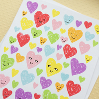 Love Hearts Screenprinted Card