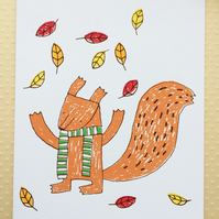 Hello Squirrel - Screenprinted Card