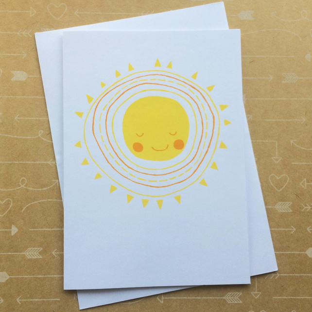 Hello Sunshine - Hand Screen Printed Card
