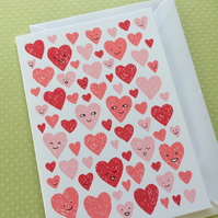 SECONDS Valentines Love Hearts - Hand Screen Printed Card