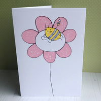 Flower Fun Screenprinted Card - Blank Inside