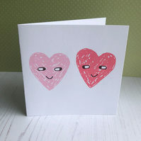 Two Hearts - screenprinted card & blank inside
