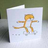 Skateboarding Tiger Card - screen-printed and blank inside
