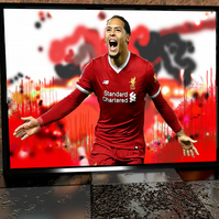 Virgil van Dijk - Liverpool - Original Artwork - Football Print