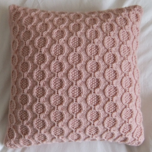 Baby Pink Rings Knitted Cushion - Folksy