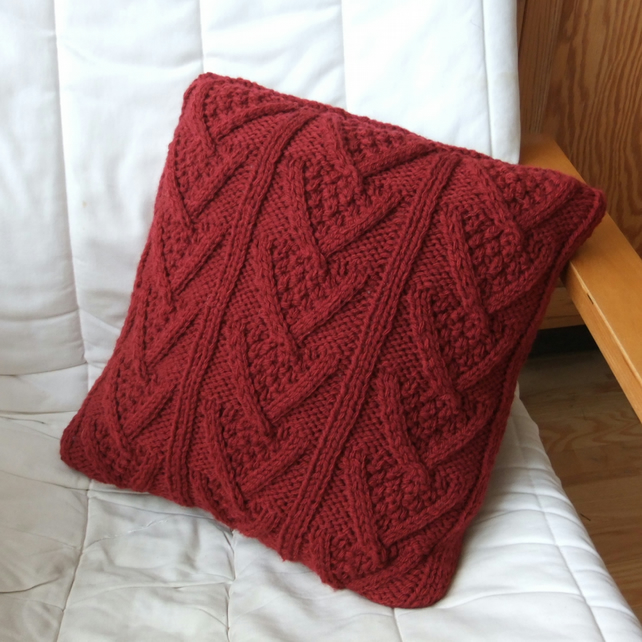 Hand Knitted Red Chunky Chevron Cable Cushion - Folksy