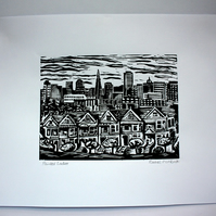 Painted Ladies, San Francisco Linocut print