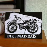 Motorbike Birthday Card (linocut)
