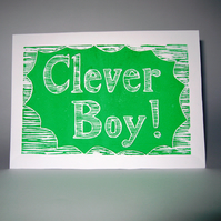 Clever Boy lino print card (exams, degree, driving test, new job)
