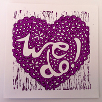 Wedding Acceptance lino print card (Purple)