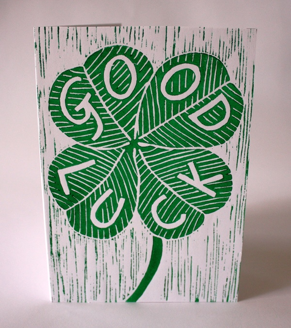 Good Luck card (Linocut)