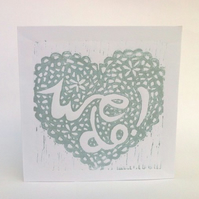 Wedding Acceptance linoprint card (silver)
