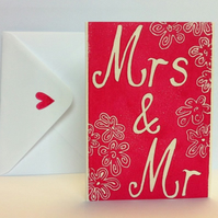 Mrs & Mr Wedding card (Linocut)