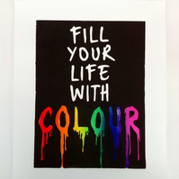 Fill your life with colour - Linocut print