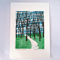 'Through the Trees' Linocut print