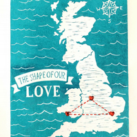 Personalised Love Map Linocut Print