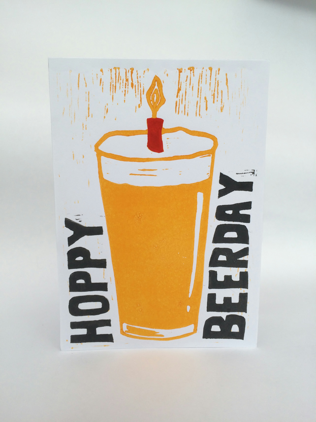 Hoppy Beerday Birthday card (Linocut)