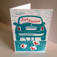 Driving Test card (linocut)