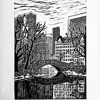 Central Park, New York Linocut print