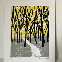 'Through the Trees' Linocut print FREE SHIPPING